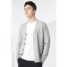 春季新款男士V领针织开衫青年纯色毛衣外套潮2823