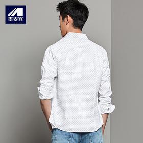 秋装新品纯棉长袖波点青年衬衫男商务休闲衬衣