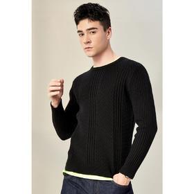 男装春季新款男士时尚长袖加厚毛衣圆领直筒针织衫