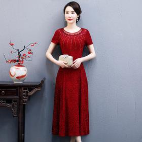 WXG-TLA20-Q新款南韩丝短袖长款礼服裙TZF