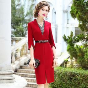 FMY29925新款时尚优雅气质修身V领钉珠开叉中长连衣裙TZF