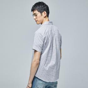 【内购特卖】秋季纯棉短袖格子衬衫男士青年休闲衬衣潮5342