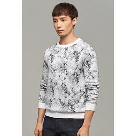男装春季新款圆领提花加厚套头毛衣男士针织衫2297