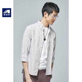 【内购特卖】秋季新款纯棉格子薄衬衫男士休闲青年长袖衬衣5387