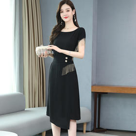 HRFS-WJ16019新款时尚气质纯色流苏裙TZF