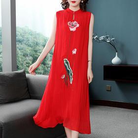 PDD-LXNZ新款中国风优雅刺绣无袖连衣裙TZF