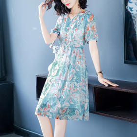 AHM-hxyr5991新款法式V领碎花雪纺气质裙TZF