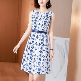 AHM-hxyr5988新款时尚优雅气质收腰显瘦中长款碎花连衣裙TZF