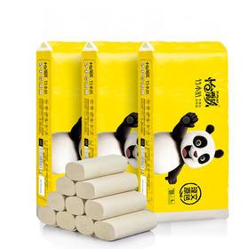 怡飘 熊猫系列竹浆本色母婴适用无芯卷纸 58g/卷*4层*36卷(利信馨)