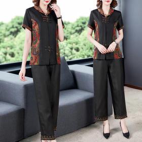GN-NM2116新款中国风仿真丝印花短袖上衣直筒裤两件套TZF
