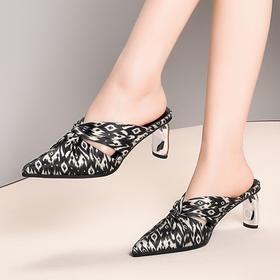 OLD161-1新款时尚尖头豹纹高跟凉拖鞋TZF