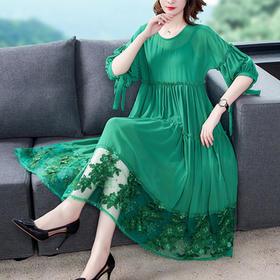 AHM-wmy9298新款仿真丝雪纺蕾丝刺绣裙TZF