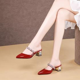 OLD-A492新款时尚尖头水钻包头粗跟凉拖鞋TZF