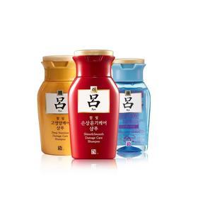 韩国吕洗发水中样100ml瓶旅行便携装红吕修护损伤柔 3瓶组