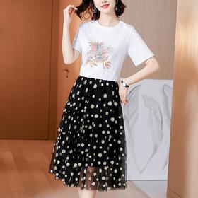 AHM-hxyr5987新款时尚气质印花小雏菊网纱裙两件套TZF