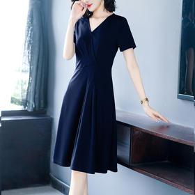 AHM-hxyr5992新款时尚气质压褶修身V领裙TZF