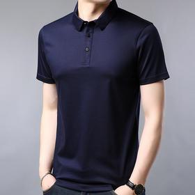 BLN1071新款韩版休闲高档纯色男士桑蚕丝T恤TZF