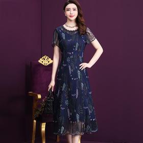 WXY-JR-76692020新款时尚气质蕾丝束腰刺绣中长连衣裙TZF