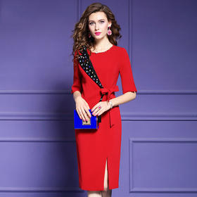 FMY29974新款时尚气质修身钉珠开叉一步裙TZF