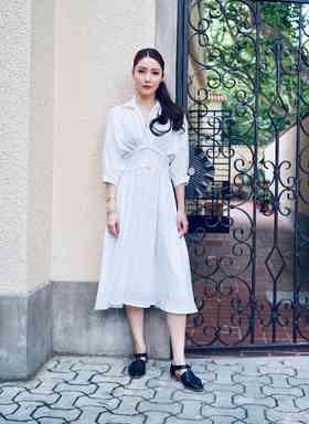 Maison Covet 自有品牌 白色复古高腰裙