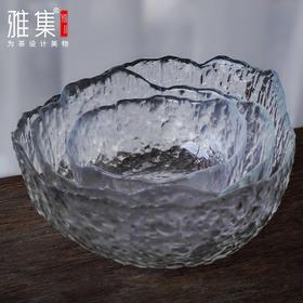 雅集 玻璃锤纹冰山茶洗家用网红水果盘蔬菜沙拉碗盘厨房收纳洗菜盆