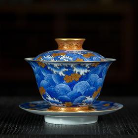 雅市·青花矾红描金落花流水泡茶碗