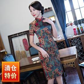 (真丝款)TZF1899M流光溢彩重磅香云纱旗袍裙TZF