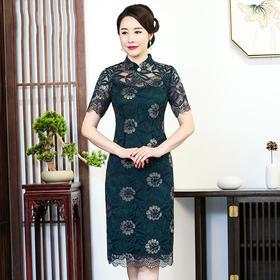 (旗开得胜)CMY92455新款优雅气质显瘦中长款蕾丝绣花连衣裙TZF