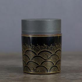 描金海波纹茶叶罐