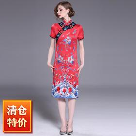 【清仓特价 不退不换】OG9277凤凰于飞刺绣改良旗袍TZF