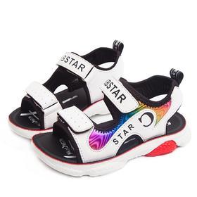 【寒冰紫雨】露趾童鞋小学生凉鞋 魔术贴夏季中性童鞋 超纤合成革亮片大童鞋子    AAA6831
