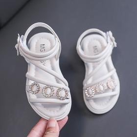 【寒冰紫雨】童鞋魔术贴露趾皮鞋女童  小学生鞋子夏季新款   女童中大童凉鞋   AAA6830