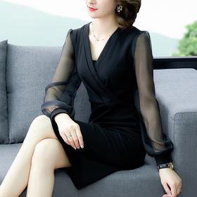 【寒冰紫雨】性感时尚防晒长袖裙子 舒适醋酸面料连衣裙  CCCYQ9988