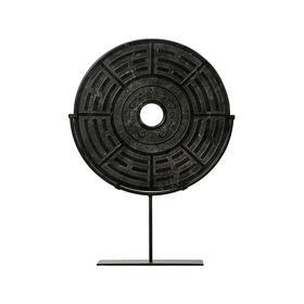 八卦玉片 复古摆件 岫玉神兽 Disk with stand