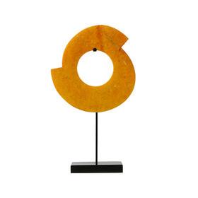 玉璧雕刻摆件玉片 disk with stand