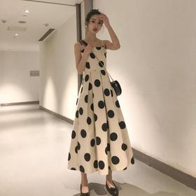 【寒冰紫雨】年轻妈妈连衣裙  法式很仙一字肩吊带连衣裙  裙子2020年新款夏天素色长裙  CCCYQ9972