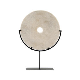 白色雕刻玉片加托Disk with stand WBH19100043