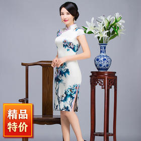 【清仓特价 不退不换】TZF-Q634清雅牡丹复古高档中式旗袍TZF