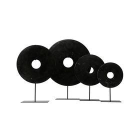 黑色玉璧桌面摆件装饰品Disk with stand