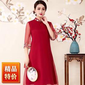 【清仓特价 不退不换】OG9822春夏新款刺绣连衣裙TZF