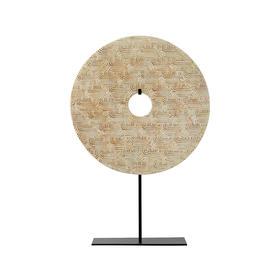 中式装饰品禅意万字纹玉璧摆件工艺品桌摆设Disk with stand