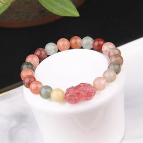 NM-SL-220681天然草莓晶雕刻貔貅手链