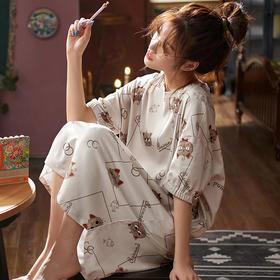 润微新品女家居服长款睡裙可爱甜美短袖睡衣棉质夏季款多可外穿 萌黄派对 yjdf