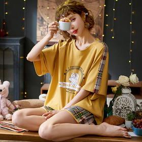 润微新品女家居服可爱甜美短袖睡衣棉质夏季款多款可外穿套装 鬼马韵律 yjdf
