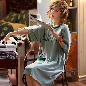 润微新品女家居服长款睡裙可爱甜美短袖睡衣棉质夏季款多可外穿 活力淡蓝 yjdf yzk
