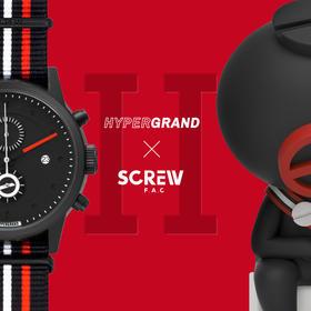 HYPERGRAND哈格跨界联名SCREW第二代时尚潮流大表盘尼龙带石英腕表