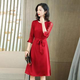 KQLFS24025新款时尚优雅气质七分袖桑蚕丝连衣裙TZF