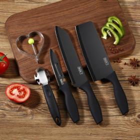 【套刀】刀具套装 厨房不锈钢礼品套刀具五件套 菜刀套装网红黑刀