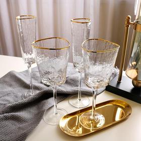 【红酒杯】创意锤目金边水晶玻璃小酒杯香槟杯欧式高脚葡萄酒杯玻璃红酒杯