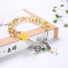 天然黄水晶切面多宝原创手链